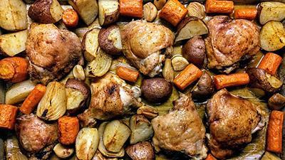 receta por raciones pollo con almendras