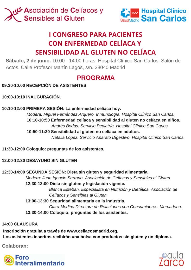 Programa I Congreso para pacientes con enfermedad celíaca y sensibilidad al gluten no celíaca