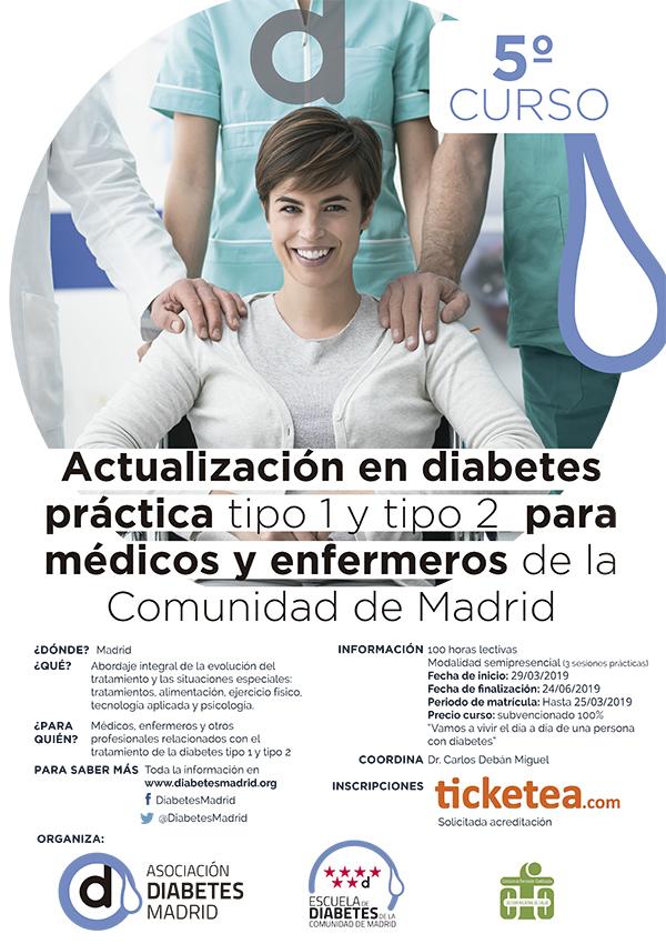 5º Curso de Actualización en Diabetes Práctica tipo 1 y tipo 2 para médicos y enfermeros de la Comunidad de Madrid