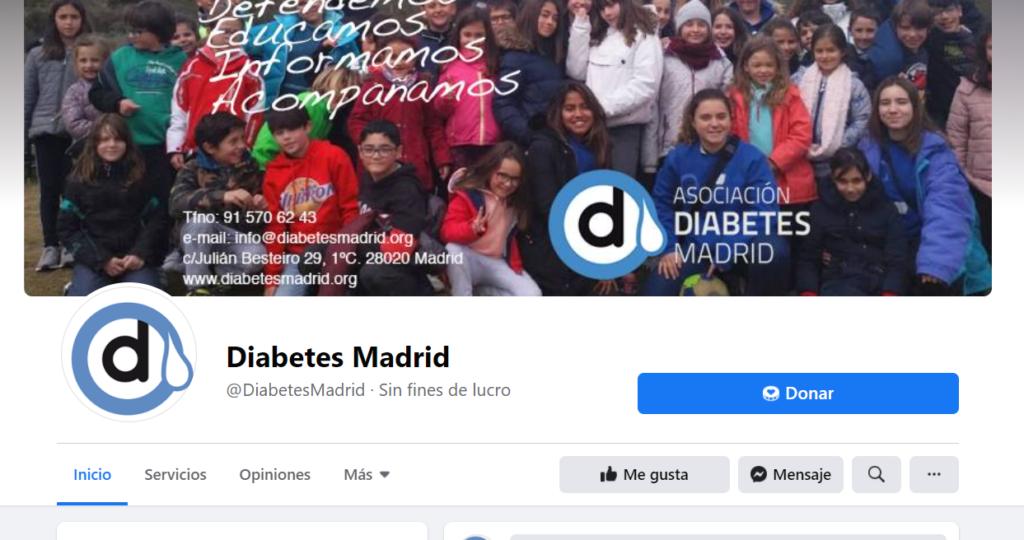 hacer donaciones a Asociación Diabetes Madrid en Facebook